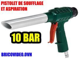 Pistolet de soufflage et aspiration pneumatique