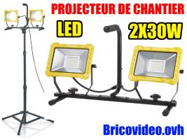 Projecteur de chantier LED 2 x 30W