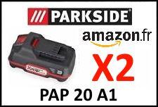 lot 2 batteriez parkside pap 20 a1 x20v team lidl 20v PSBSA 20-Li A1 PABH 20-Li B2 PABS 20-Li C3 PDSSA 20-Li A1 PHKSA 20-Li A1 PSTDA 20-Li A1 PSSA 20-Li A1 PWSA 20-Li A1 PAMFW 20-Li A1