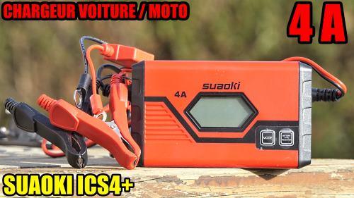 SUAOKI Chargeur de batterie voiture et moto 4A 12v/6v