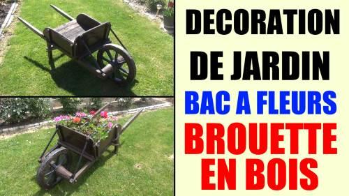 Bac A Fleur En Bois Palette : bac-a-fleurs-brouette-en-bois-idee-decoration-de-jardin