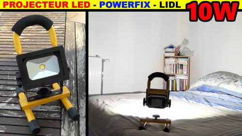 projecteur à led sans fil lidl powerfix 10 watts 5,2 Ah